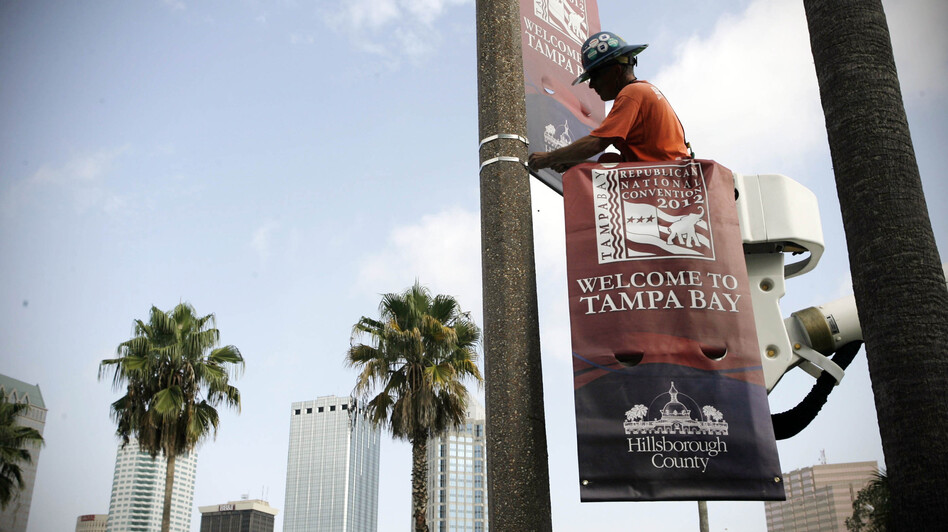 The Tampa Bay Host Committee for the Republican National Convention began installing banners on Wednesday. (AP)