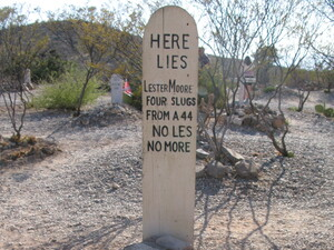 "Johnny Cash immortalized the graveyard's most famous tombstone in the song ""The Ballad of Boot Hill."""