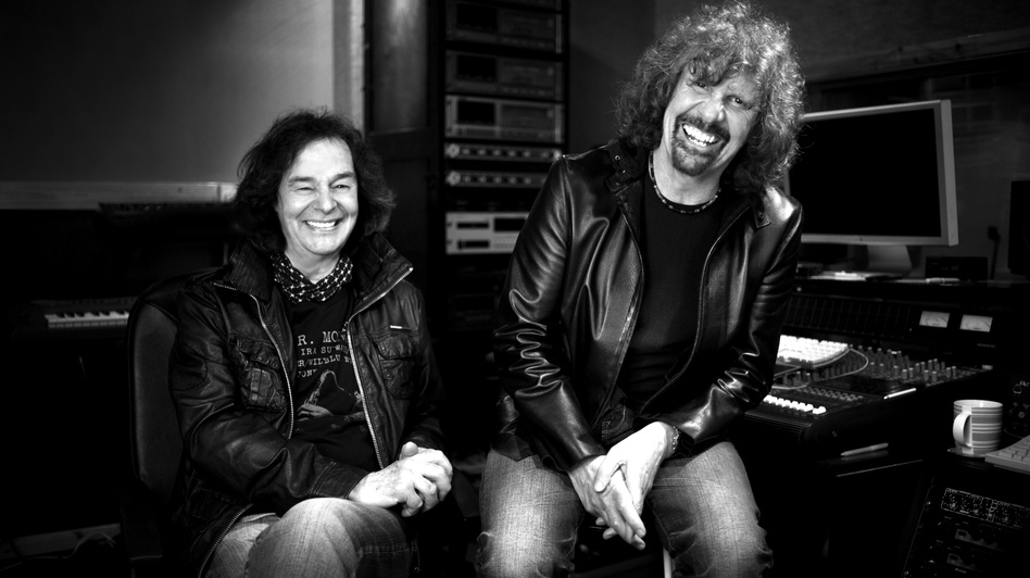 The Zombies' Colin Blunstone and Rod Argent in the studio. The band's latest album is titled <em>Breathe Out, Breathe In</em>.