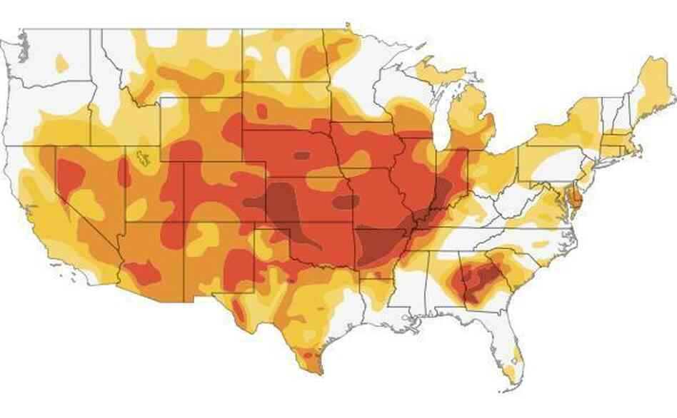 Click here to go to an interactive map showing how the drought has grown this year.