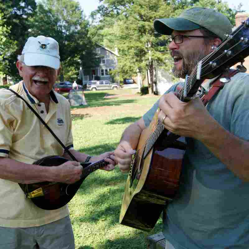 Members of CABOMA, the Capitol Area Bluegrass and Old-time Music Association, perform in Arlington, Va.
