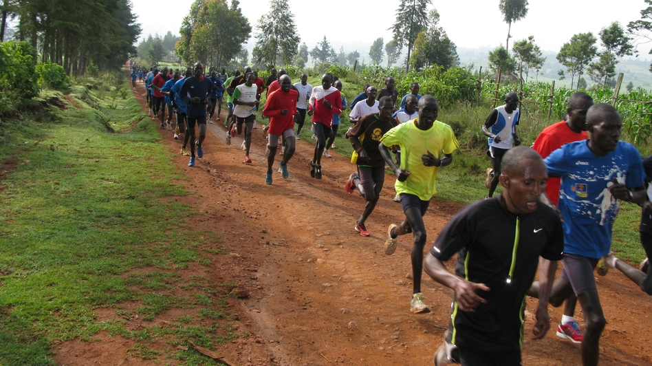 Every day at 9 a.m. sharp in Iten, Kenya, 200 or so runners train on the dirt roads surrounding the town. (NPR)