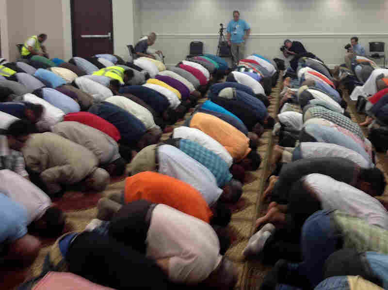 Muslims in Murfreesboro, Tenn., gather on Friday afternoon for prayers in a new mosque.