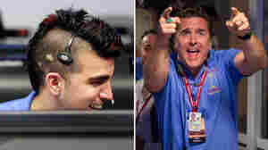 """Missions engineers Bobak Ferdowsi (left) and Adam Steltzner — also known as """"Mokawk guy"""" and """"Elvis guy,"""" respectively — helped land the Mars Curiosity rover on Sunday night."""