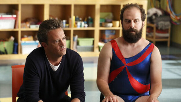 Matthew Perry and Brett Gelman of NBC's Go On appear in a promo shot especially for the Olympics. (NBC)