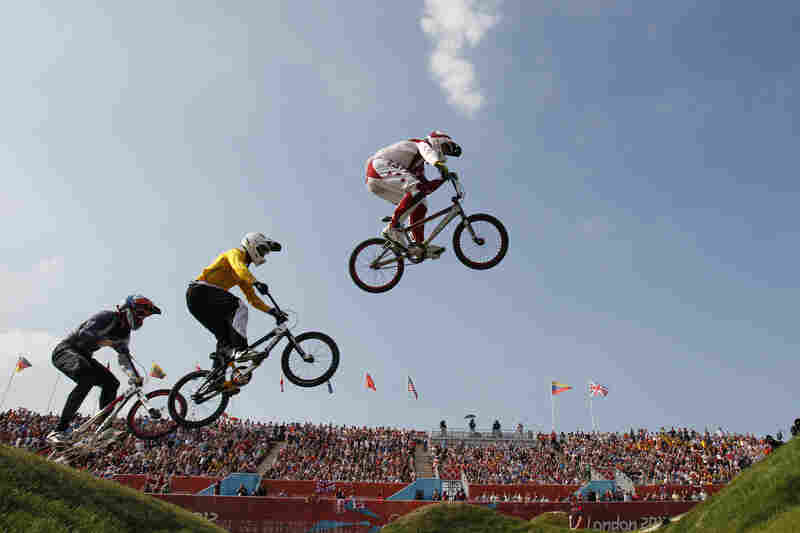 Latvia's Maris Strombergs leads the competition during the BMX cycling men's final. Strombergs won his second straight Olympic gold medal.