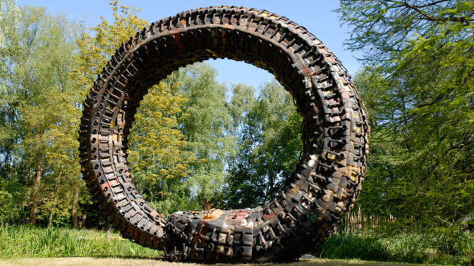 This rainbow serpent was built from recycled gasoline cans by Romuald Hazoume, an artist from Benin. (National Museum of African Art)