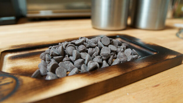 Chocolate chips, fresh out of the smoker at Hot Cakes Molten Chocolate Cakery in Seattle. (NPR)