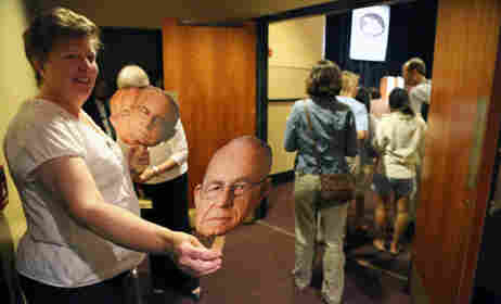 Merrill Auditorium volunteers handed out Carl's head to the audience members as they entered the venue.
