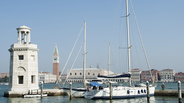The quayside at Compagnia della Vela in Venice, Italy, is largely deserted. Authorities have targeted yacht owners as part of a crackdown on tax evasion, and many boat owners have sailed to other countries in the Mediterranean. (Bloomberg via Getty Images)