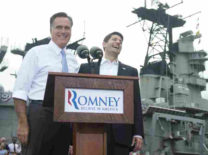 Republican presidential candidate Mitt Romney announces Wisconsin Rep. Paul Ryan as his running mate during a campaign rally in Norfolk, Va., on Saturday.