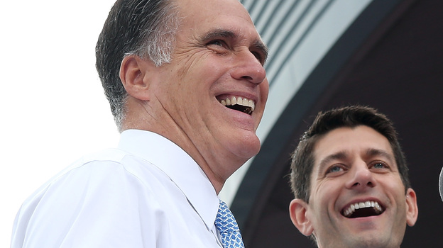 Mitt Romney introduces Rep. Paul Ryan of Wisconsin as his vice presidential running mate Saturday in Norfolk, Va. (Getty Images)