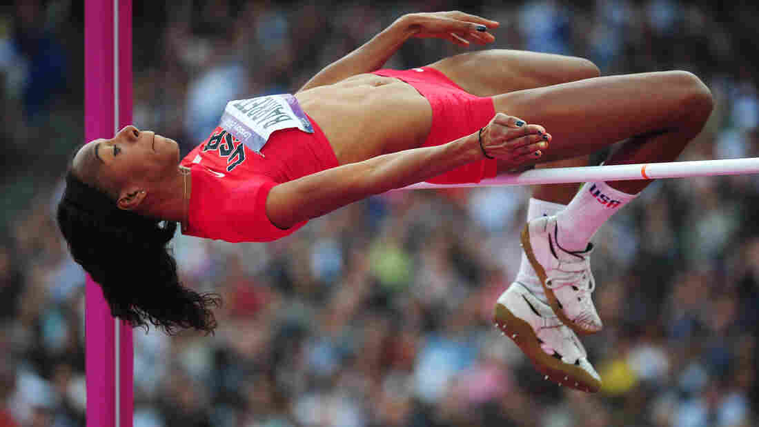 Brigetta Barrett competes in the women's high jump final Saturday in London's Olympic Stadium. She won the silver medal.