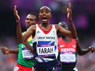 Mo Farah of Great Britain celebrates as he crosses the finish line to win gold ahead of Dejen Gebremeskel of Ethiopia and Thomas Pkemei Longosiwa of Kenya. Farah, who has become a celebrity in Britain, is the sixth man to win both the 5,000m and 10,000m distances at one Olympics.