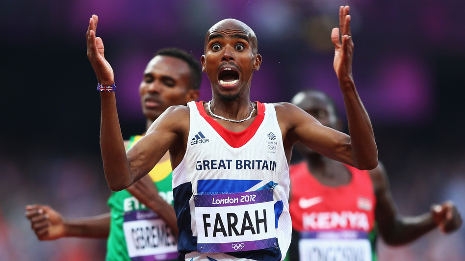 Mo Farah of Great Britain celebrates as he crosses the finish line to win gold ahead of Dejen Gebremeskel of Ethiopia and Thomas Pkemei Longosiwa of Kenya. Farah, who has become a celebrity in Britain, is the sixth man to win both the 5,000m and 10,000m distances at one Olympics. (Getty Images)