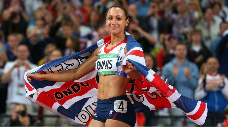 Jessica Ennis of Great Britain celebrates winning gold in the heptathlon at the London 2012 Olympic Games. (Getty Images)