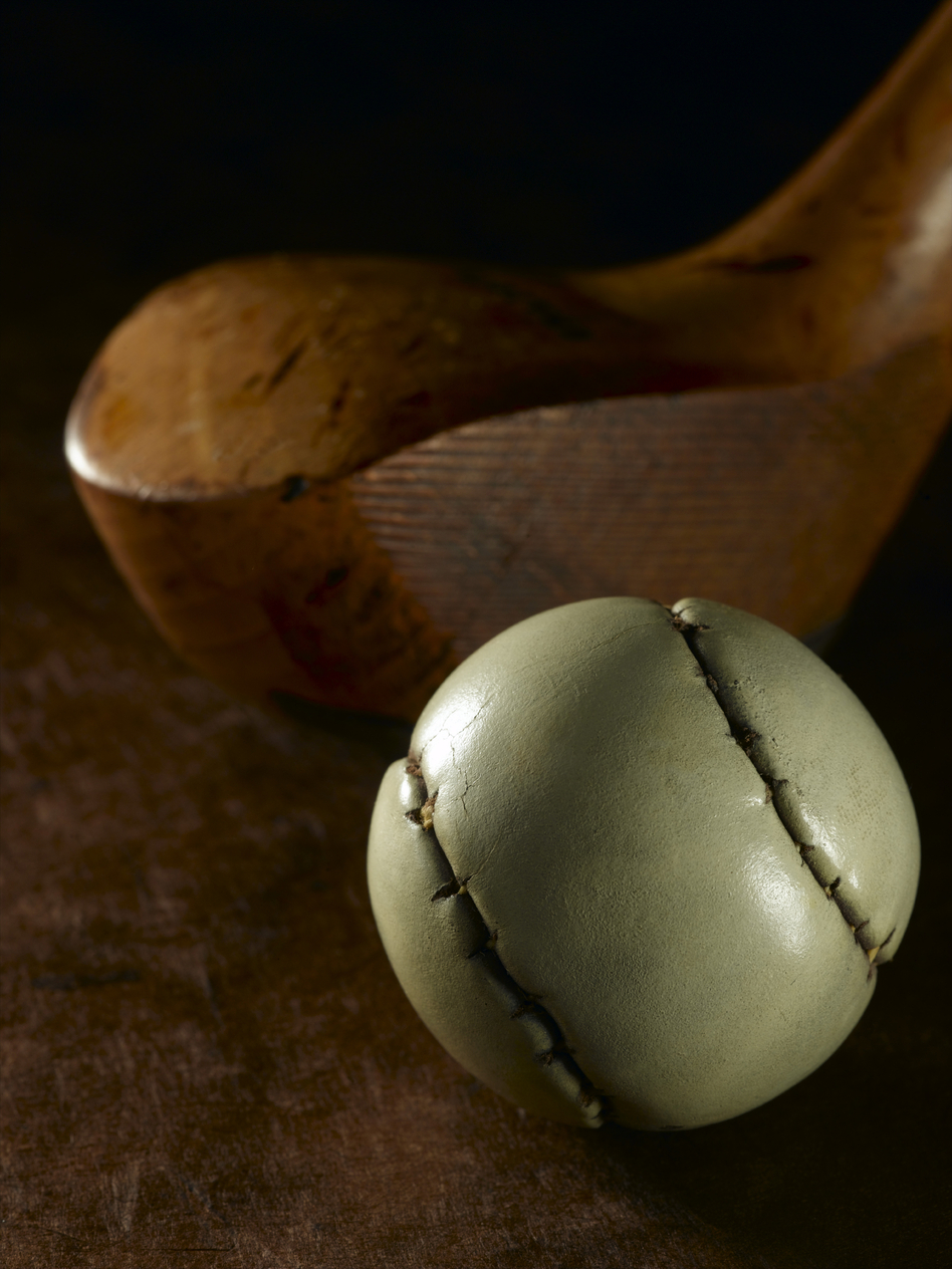 "A ""featherie"" golf ball from the 1800s."