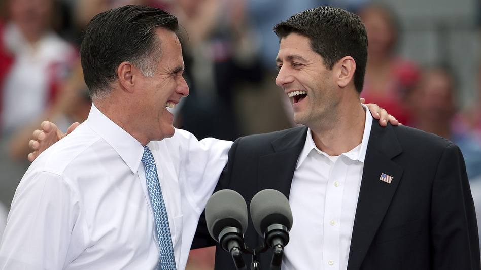 The Republican ticket at this morning's announcement in Norfolk, Va.: Former Massachusetts Gov. Mitt Romney, left, and Republican Rep. Paul Ryan of Wisconsin. (Getty Images)