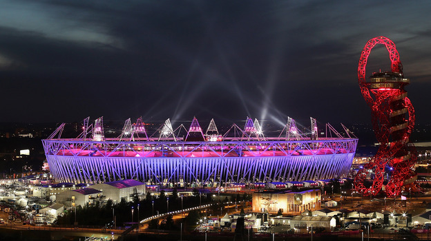 A view of the Olympic Stadium during the closing ceremony of the 2012 Olympic Games on Sunday. (Getty Images)