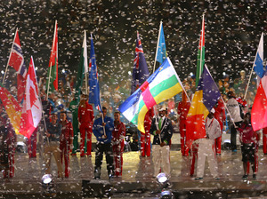 Athletes enter the stadium during the Closing Ceremony.