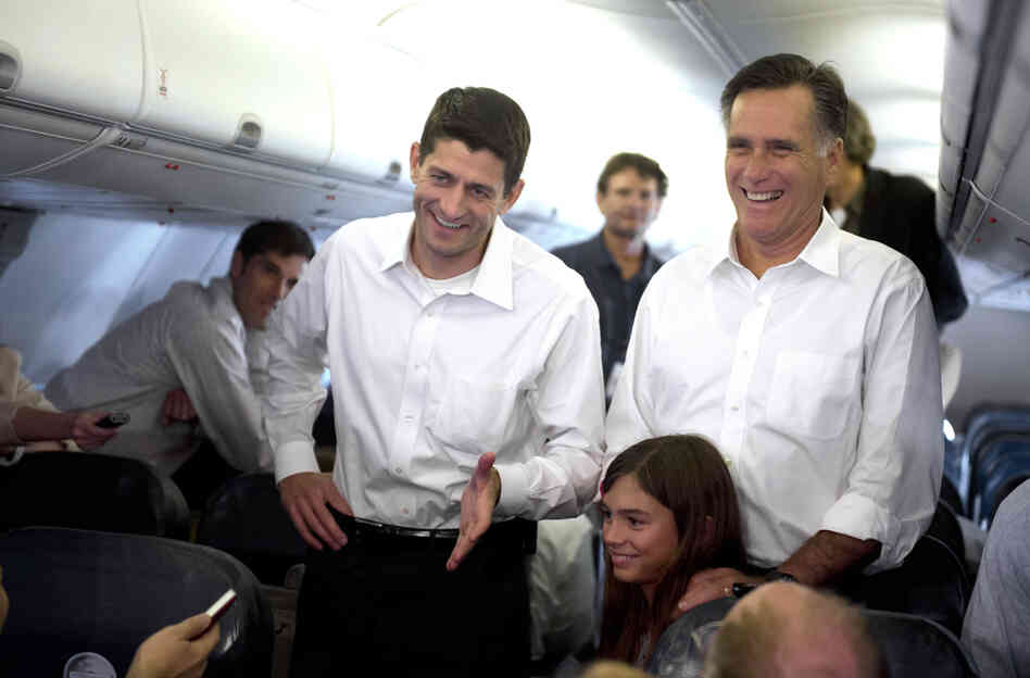Mitt Romney and Rep. Paul Ryan speak with media aboard a charter airplane from Sterling, Virginia to Charlotte, North Carolina on Saturday.