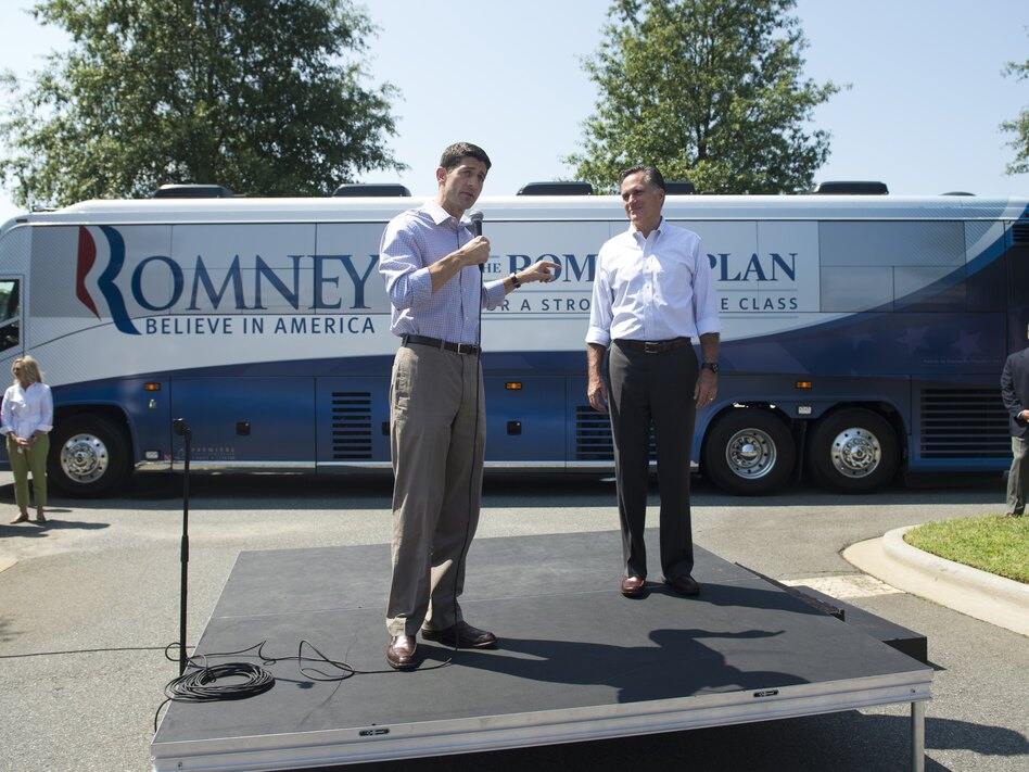 Republican presidential candidate Mitt Romney and his running mate, Rep. Paul Ryan, R-Wis., address supporters in Mooresville, N.C., on Sunday. Some pundits predict Ryan's selection will damage Romney's chances of winning Florida.
