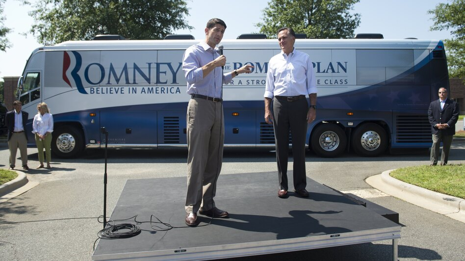 Republican presidential candidate Mitt Romney and his running mate, Rep. Paul Ryan, R-Wis., address supporters in Mooresville, N.C., on Sunday. Some pundits predict Ryan's selection will damage Romney's chances of winning Florida. (AFP/Getty Images)