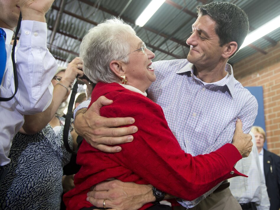U.S. Republican vice presidential hopeful Paul Ryan greets supporters during a campaign rally in High Point, N.C., on Sunday.