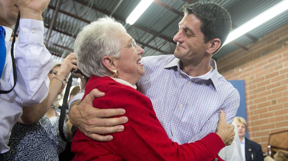 U.S. Republican vice presidential hopeful Paul Ryan greets supporters during a campaign rally in High Point, N.C., on Sunday. (AFP/Getty Images)