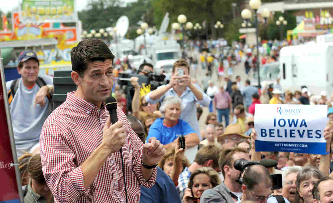 Republican vice presidential candidate, U.S. Rep. Paul Ryan speaks during a campagin stop at the Des Moines Register Soap Box at the Iowa State Fair on Monday.