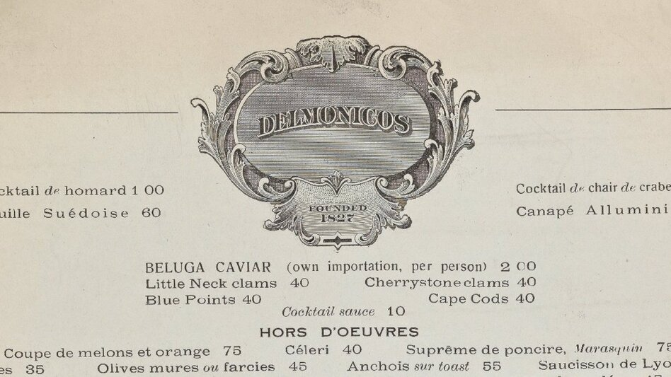 Click here to view a PDF of Delmonico's menus from 1918, 1988 and 2012. (New York Public Library)