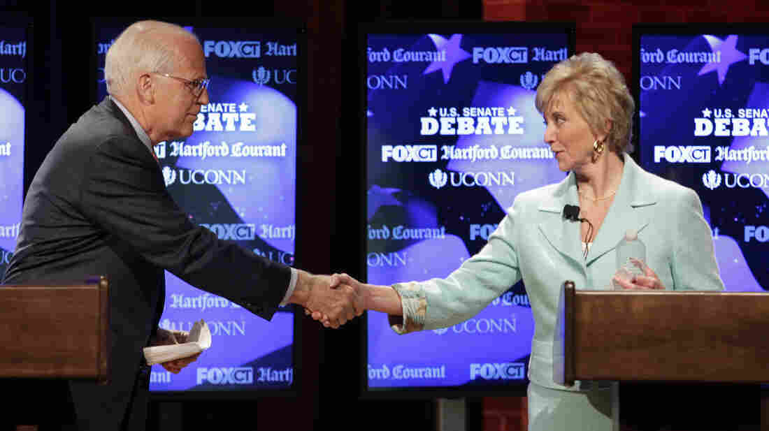 Connecticut GOP Senate candidates Rep. Christopher Shays and Linda McMahon shake hands at a June 14 debate in Storrs. State Republicans vote Tuesday on which candidate will move on to the general election.