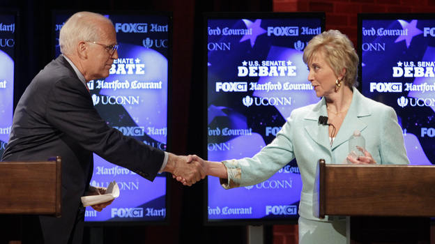 Connecticut GOP Senate candidates Rep. Christopher Shays and Linda McMahon shake hands at a June 14 debate in Storrs. State Republicans vote Tuesday on which candidate will move on to the general election. (AP)