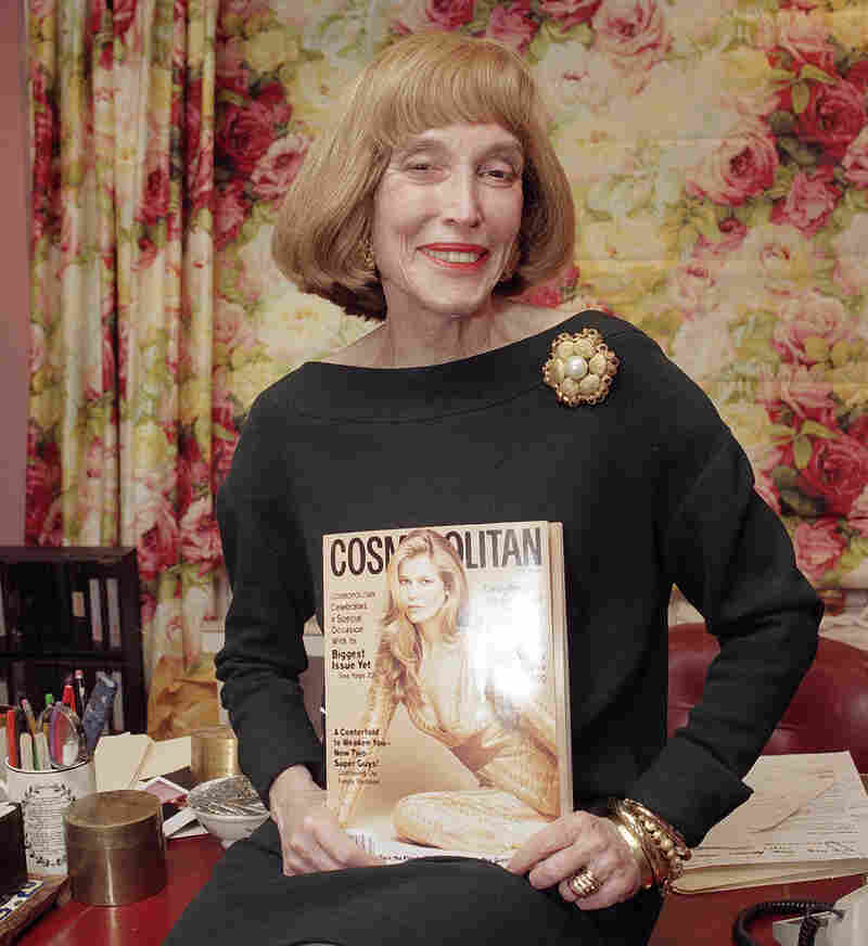 Brown holds the last copy of Cosmo she edited, in January 1997.