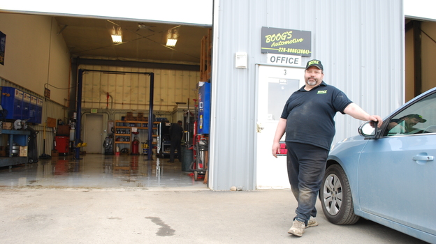 The generous Brant Torsen at Boog's Automotive shop. (Nathan Rott for NPR)