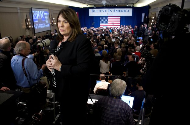 CNN's Candy Crowley at a Mitt Romney campaign event during the Iowa caucuses in January.