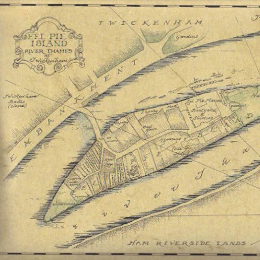 A modern map of Eel Pie Island, showing where famous buildings once stood, rendered in an old-timey style by calligrapher Catherine Horton.