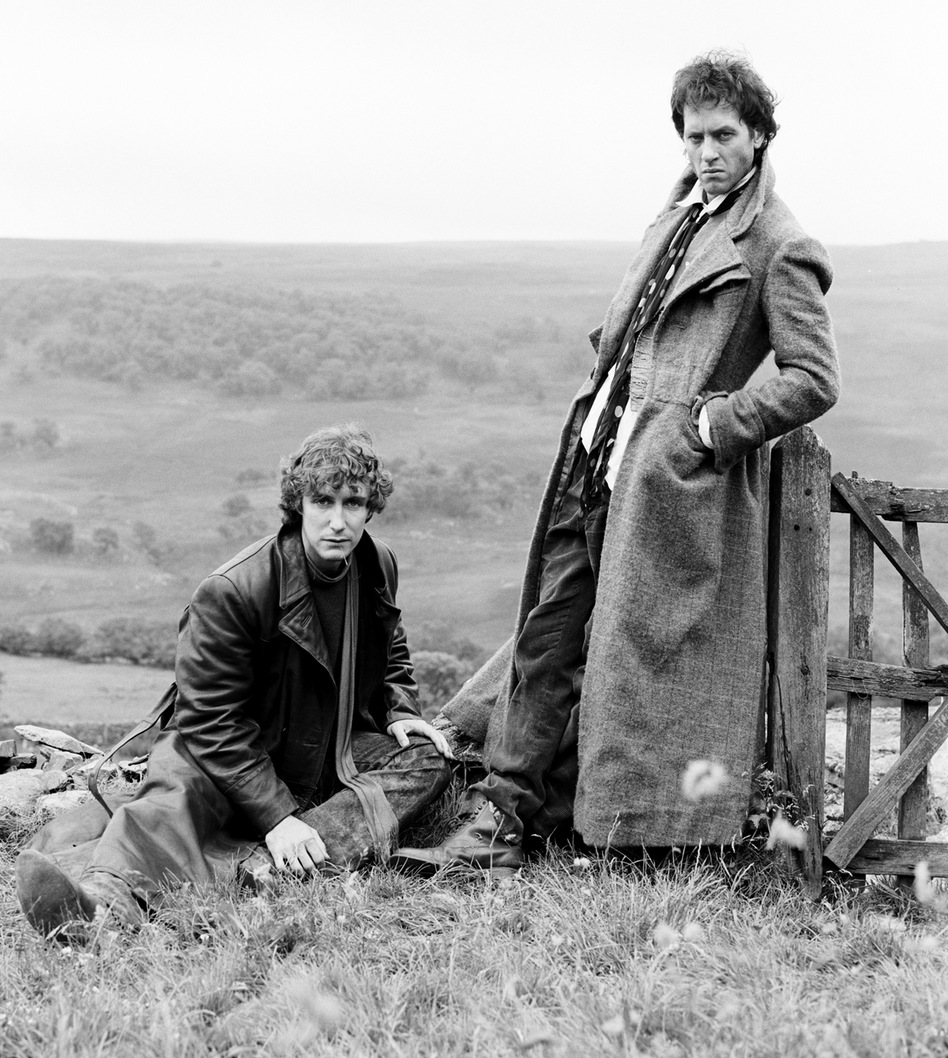 British actors Richard E. Grant and Paul McGann posing for the cover art of the movie 'Withnail & I' in Cumbria, 1986.