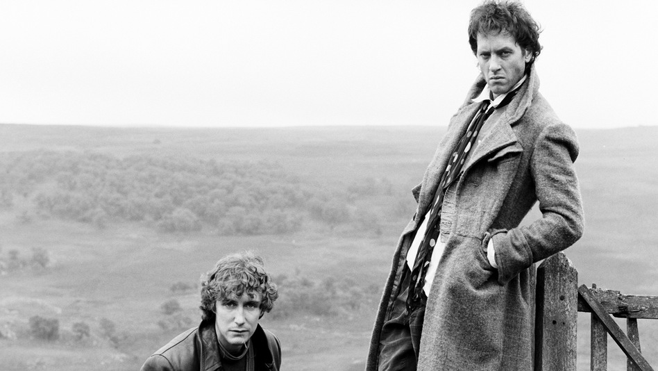 British actors Richard E. Grant and Paul McGann posing for the cover art of the movie 'Withnail & I' in Cumbria, 1986. (Getty Images)