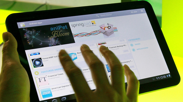 Google's Android 3.0 Honeycomb OS is demonstrated on a Motorola Xoon tablet during a media event at Google headquarters on Feb. 2, 2011. Google acquired Motorola Mobility in August 2011 for $12.5 billion. (Getty Images)