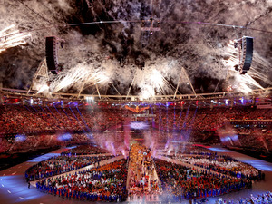 Fireworks explode at London's Olympic Stadium during the closing ceremony of the Summer Olympics. The gala has gotten good reviews — with the exception of those troubled by NBC's presentation.