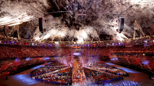 Fireworks explode at London's Olympic Stadium during the closing ceremony of the Summer Olympics. The gala has gotten good reviews — with the exception of those troubled by NBC's presentation. (AFP/Getty Images)