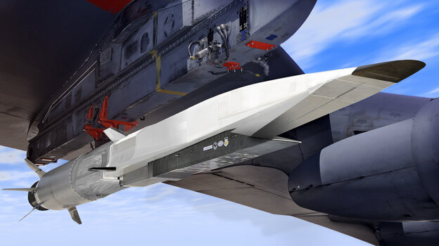 An artist's rendition of an X-51A WaveRider (in white) attached to the wing of a B-52.