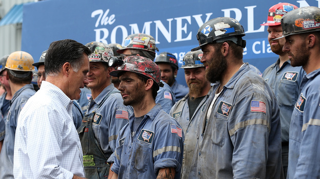 Republican presidential candidate Mitt Romney greets coal miners during a campaign rally in Beallsville, Ohio, on Tuesday. (Getty Images)