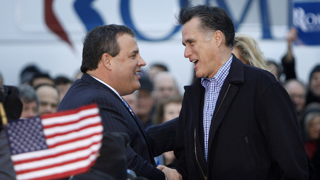 New Jersey Gov. Chris Christie greets Republican presidential candidate Mitt Romney in Des Moines, Iowa, on Dec. 30, 2011. (AP)
