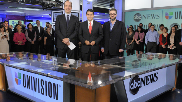 ABC News President Ben Sherwood (from left), Univision Networks President Cesar Conde and Univision News President Isaac Lee announced the joint venture between ABC News and Univision on May 7 in New York.