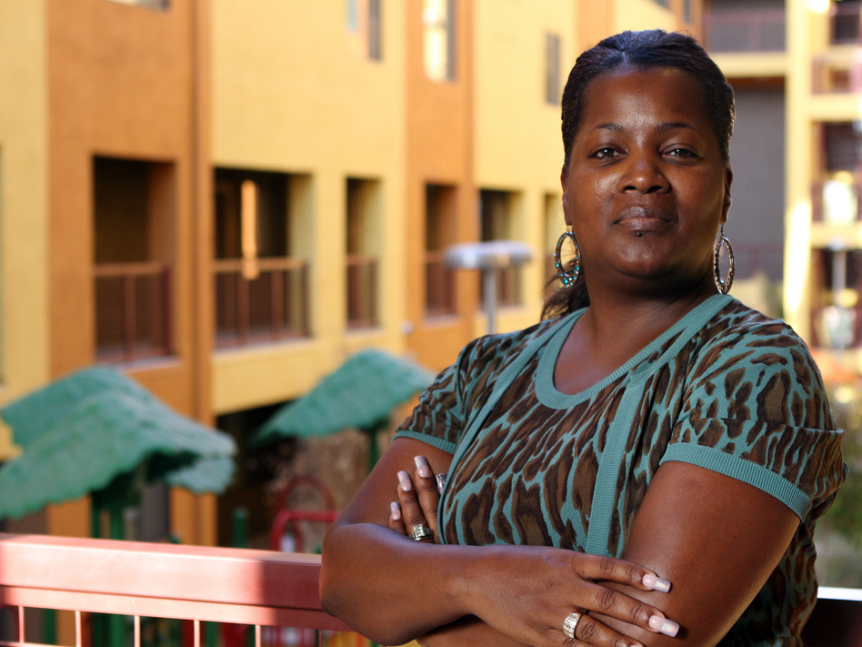Felicia McMullen has lived in the energy-efficient Devine Legacy apartment building in central Phoenix since December. (Courtesy of Mica Thomas Mulloy)