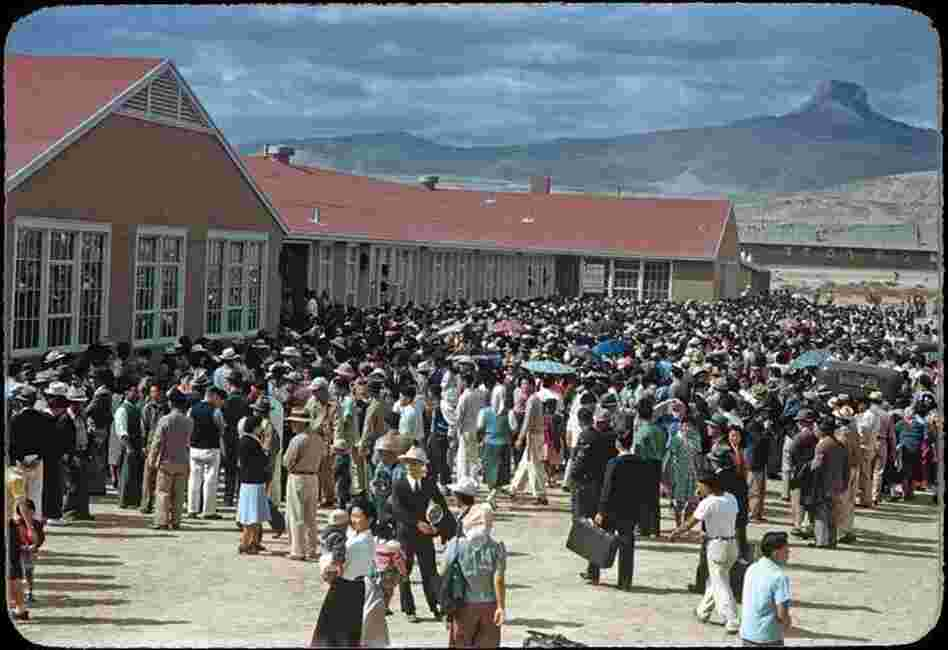About 4,000 internees gather at the Heart Mountain camp's high school on Sept. 23, 1943, to send off 434 prisoners who failed loyalty questionnaires. The inmates were sent to a segregation facility in California.