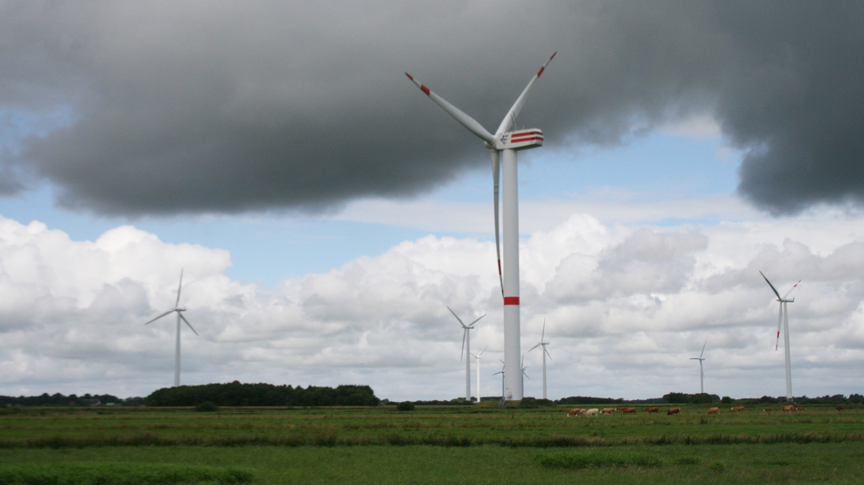 Wind turbines near Ellhoeft, in northern Germany, close to the Danish border. The challenge for Germany's new energy plan is how to transmit power generated in the north to the population centers in the south. (NPR)