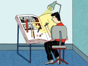 An illustrator works on a graphic novel.